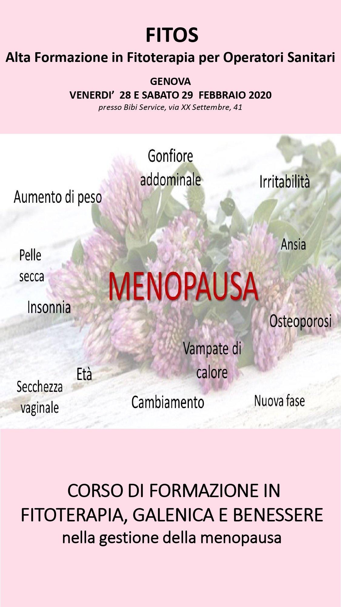 MENOPAUSA – CORSO DI FORMAZIONE IN FITOTERAPIA, GALENICA E BENESSERE NELLA GESTIONE DELLA MENOPAUSA