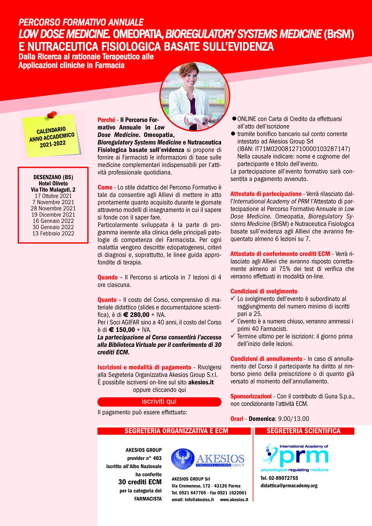 PERCORSO FORMATIVO ANNUALE IN LOW DOSE MEDICINE. OMEOPATIA, OMOTOSSICOLOGIA E NUTRACEUTICA BASATE SULL'EVIDENZA