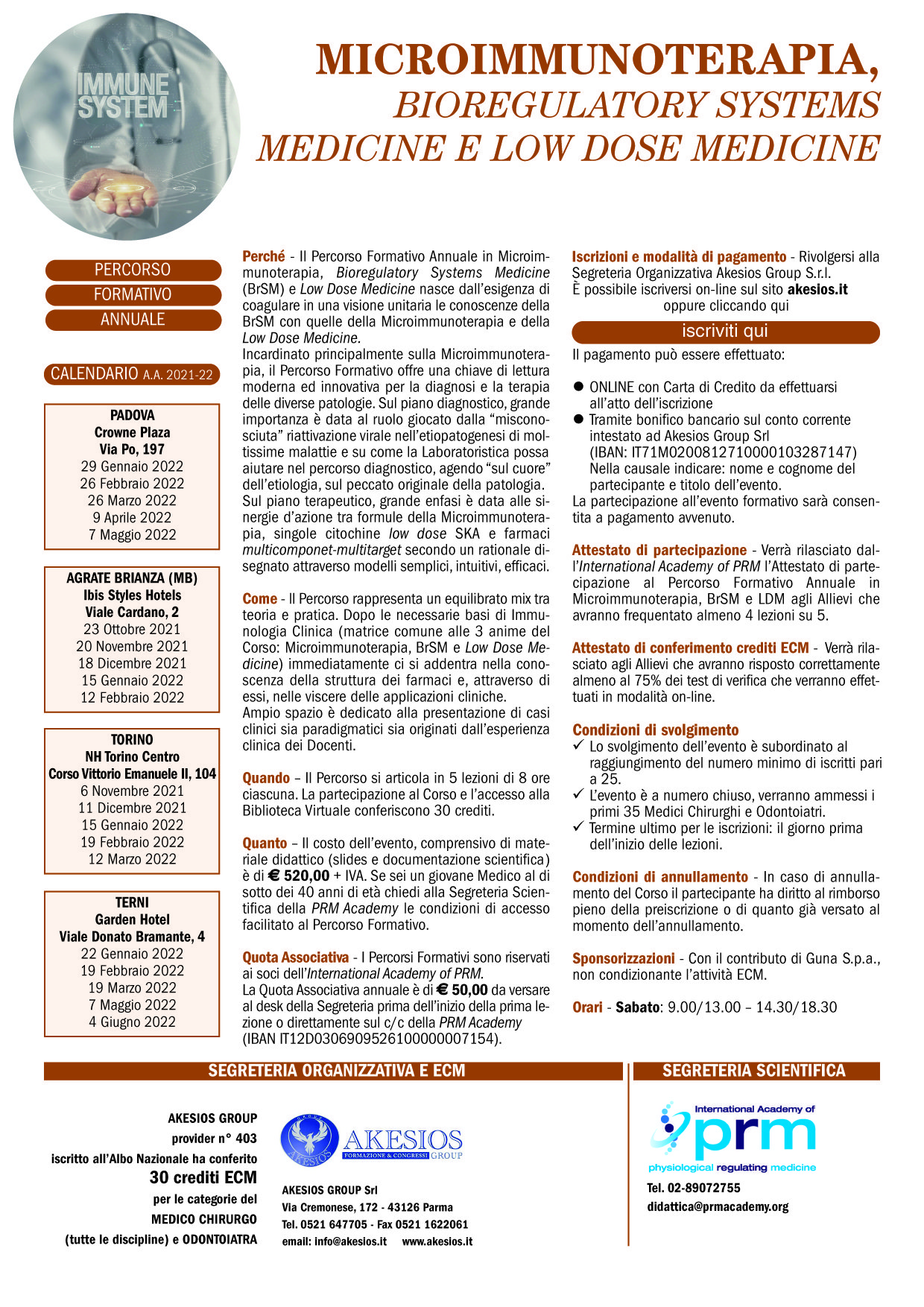 PERCORSO FORMATIVO ANNUALE IN MICROIMMUNOTERAPIA, BrSM E LOW DOSE MEDICINE