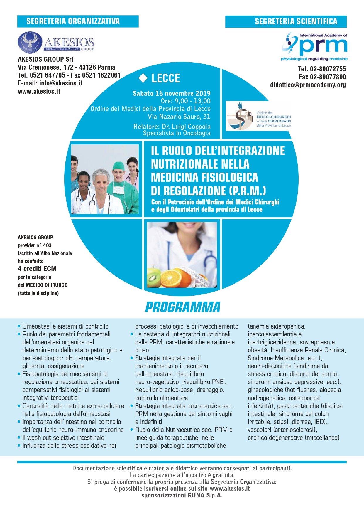 IL RUOLO DELL'INTEGRAZIONE NUTRIZIONALE NELLA MEDICINA FISIOLOGICA DI REGOLAZIONE (P.R.M.)