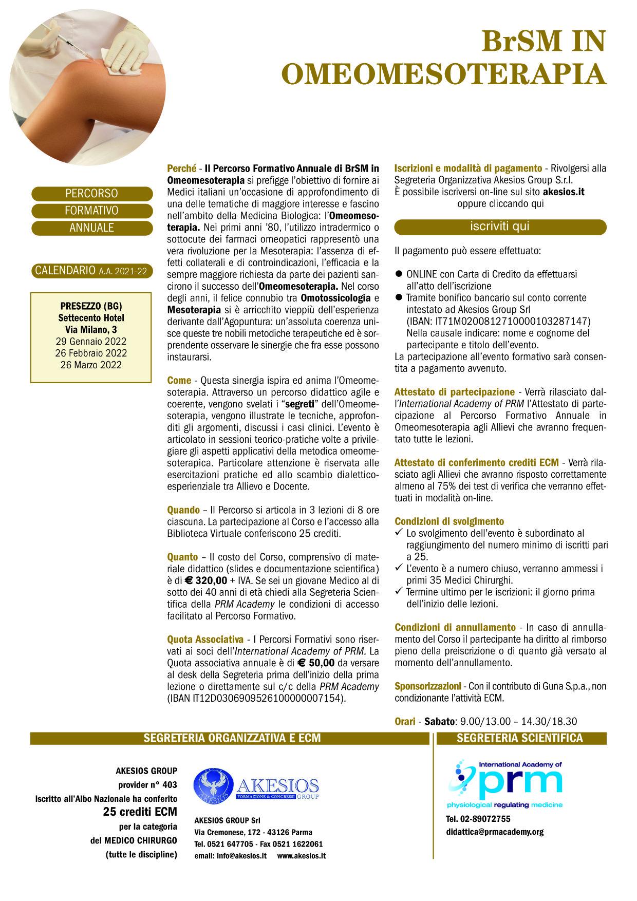 PERCORSO FORMATIVO ANNUALE DI BrSM IN OMEOMESOTERAPIA