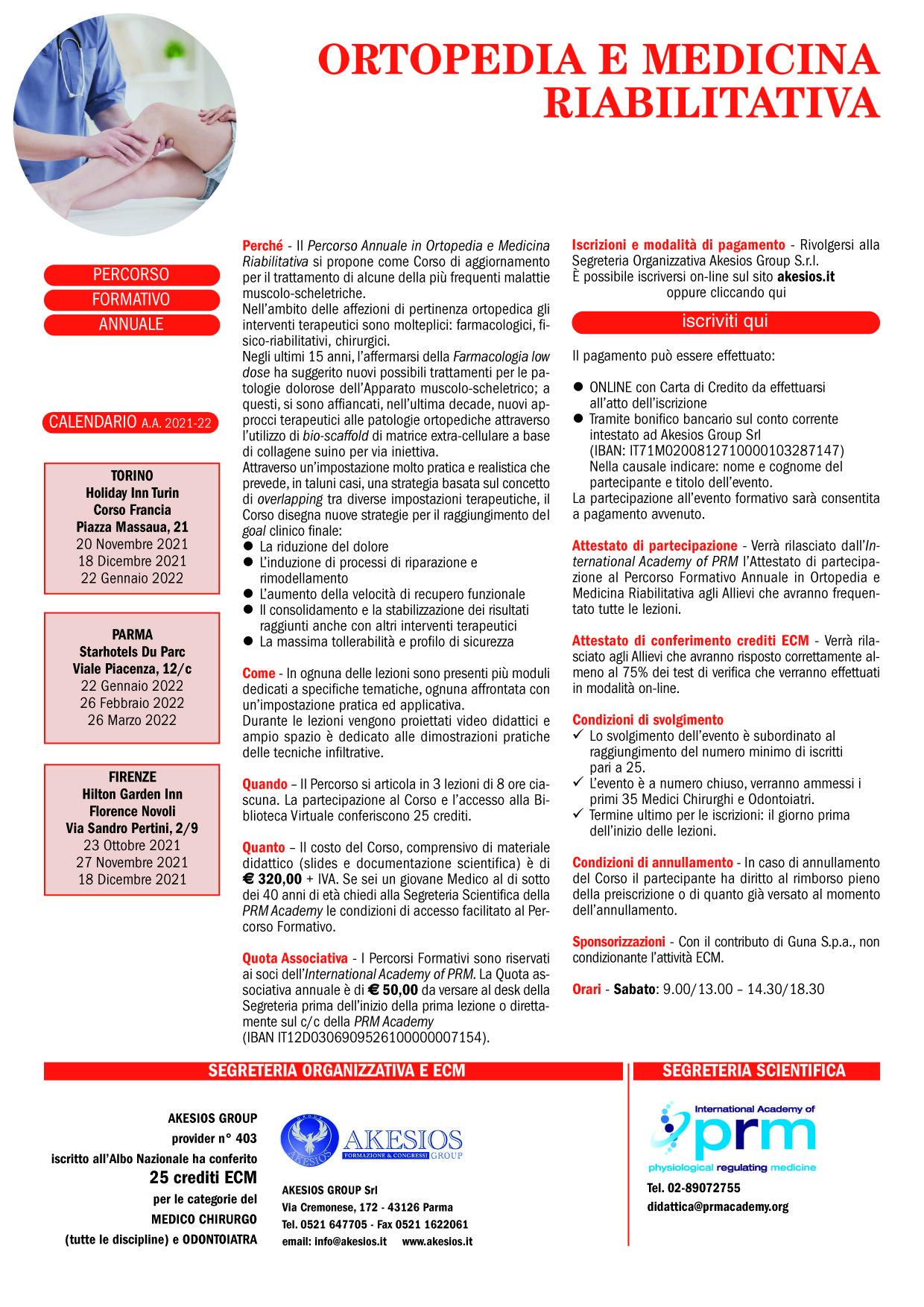 PERCORSO FORMATIVO ANNUALE IN ORTOPEDIA E MEDICINA RIABILITATIVA
