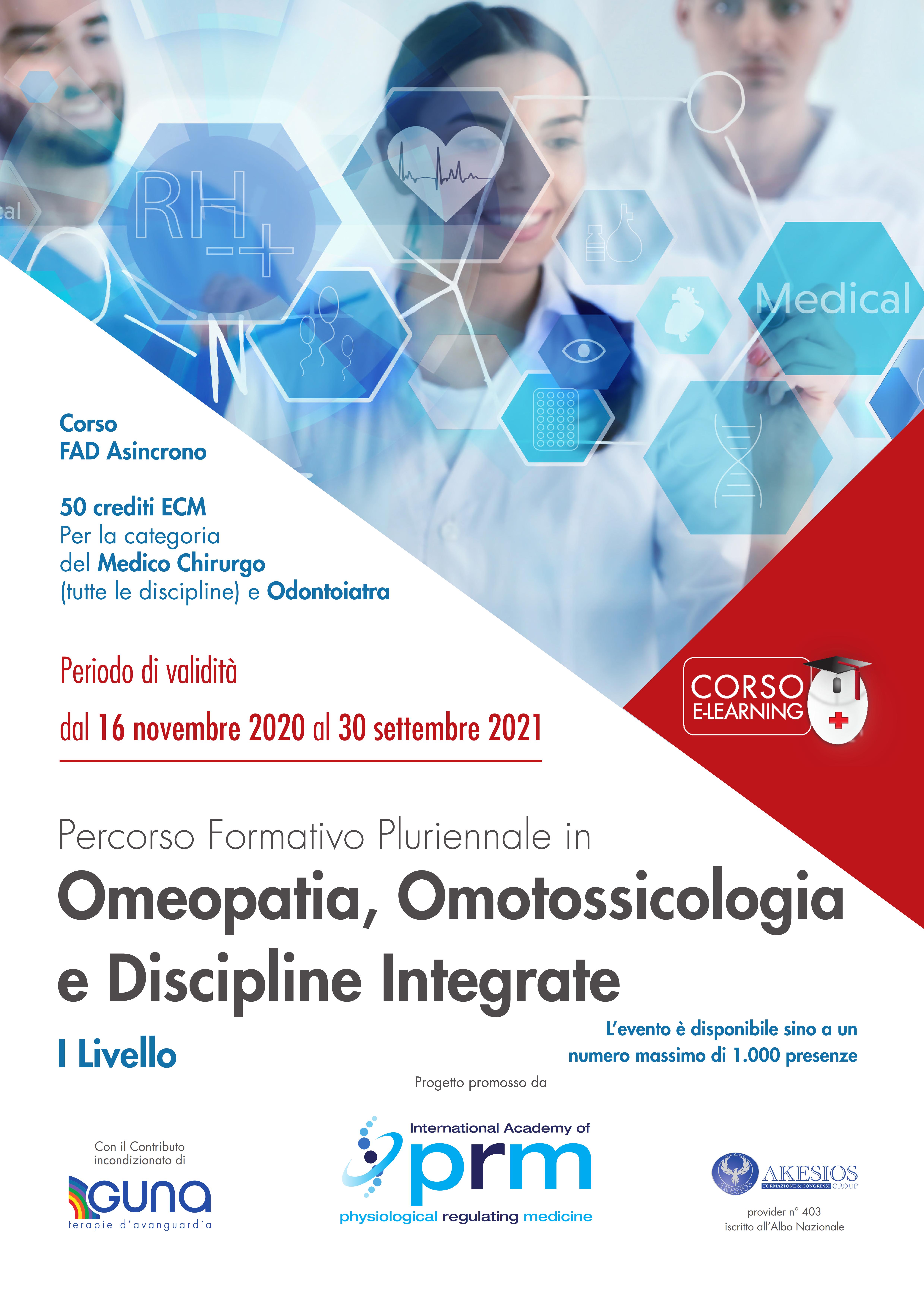 Percorso Formativo Pluriennale in Omeopatia, Omotossicologia e Discipline Integrate – I LIVELLO