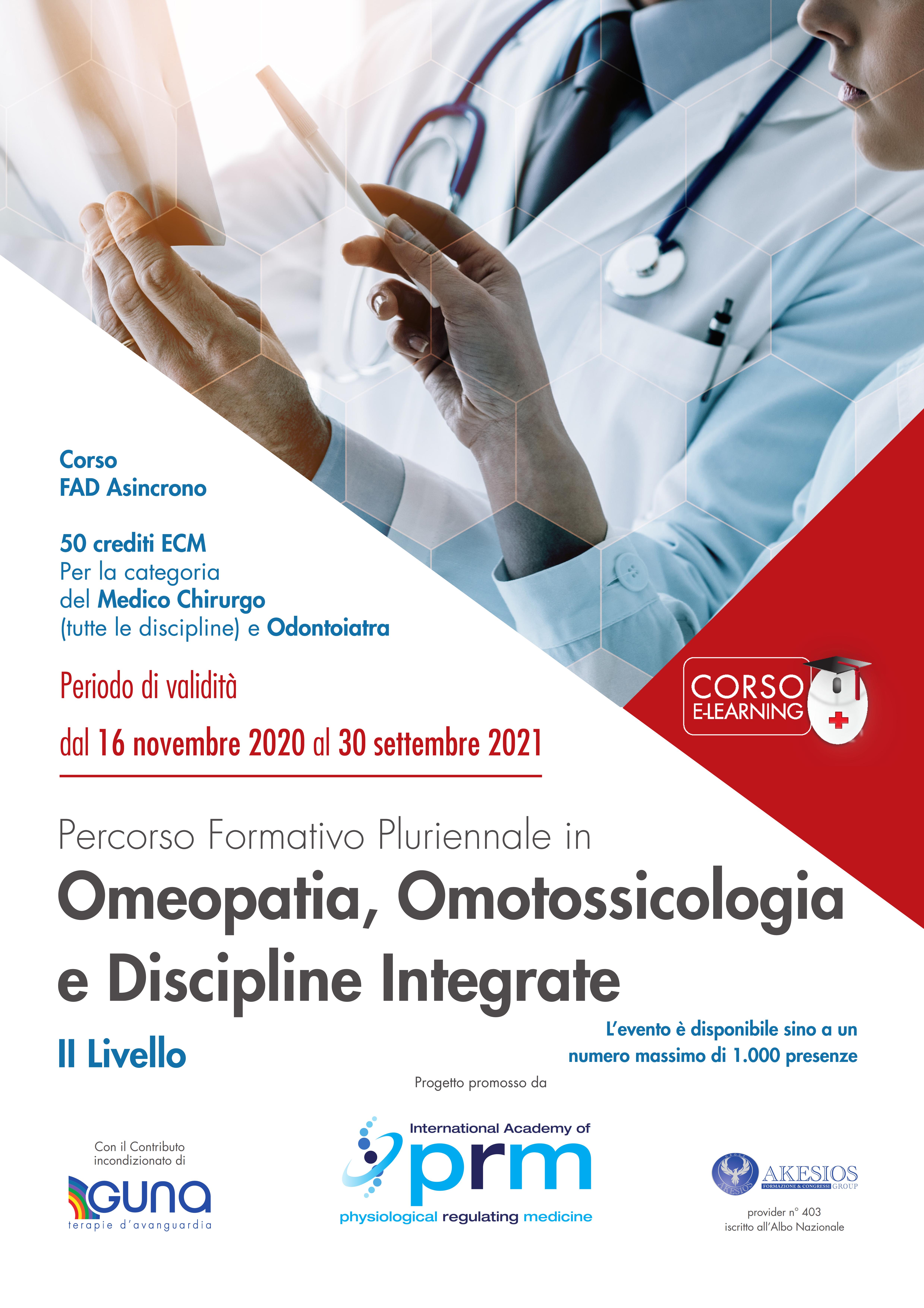 Percorso Formativo Pluriennale in Omeopatia, Omotossicologia e Discipline Integrate – II LIVELLO