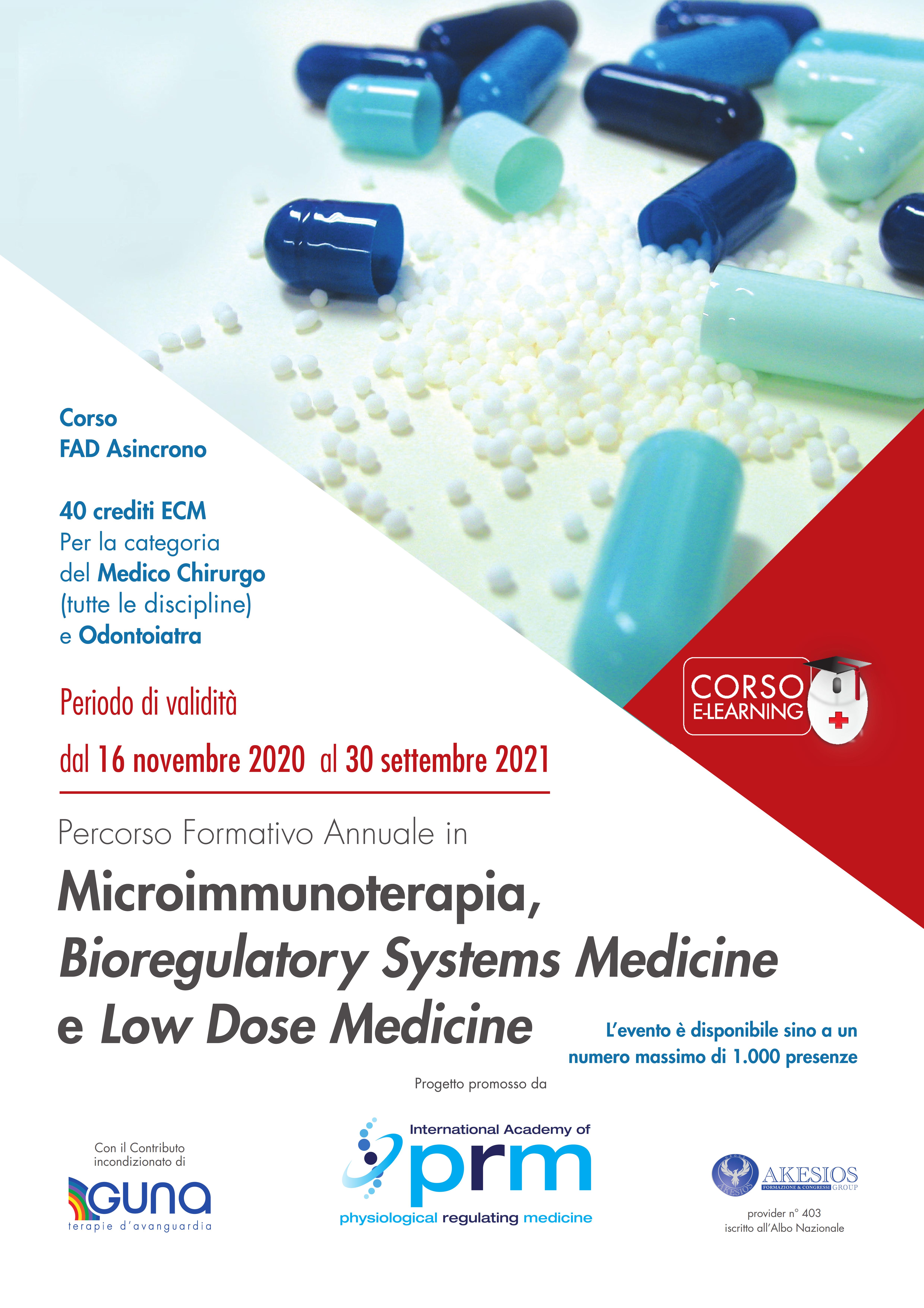 Percorso Formativo Annuale in Microimmunoterapia, Bioregulatory Systems Medicine e Low Dose Medicine