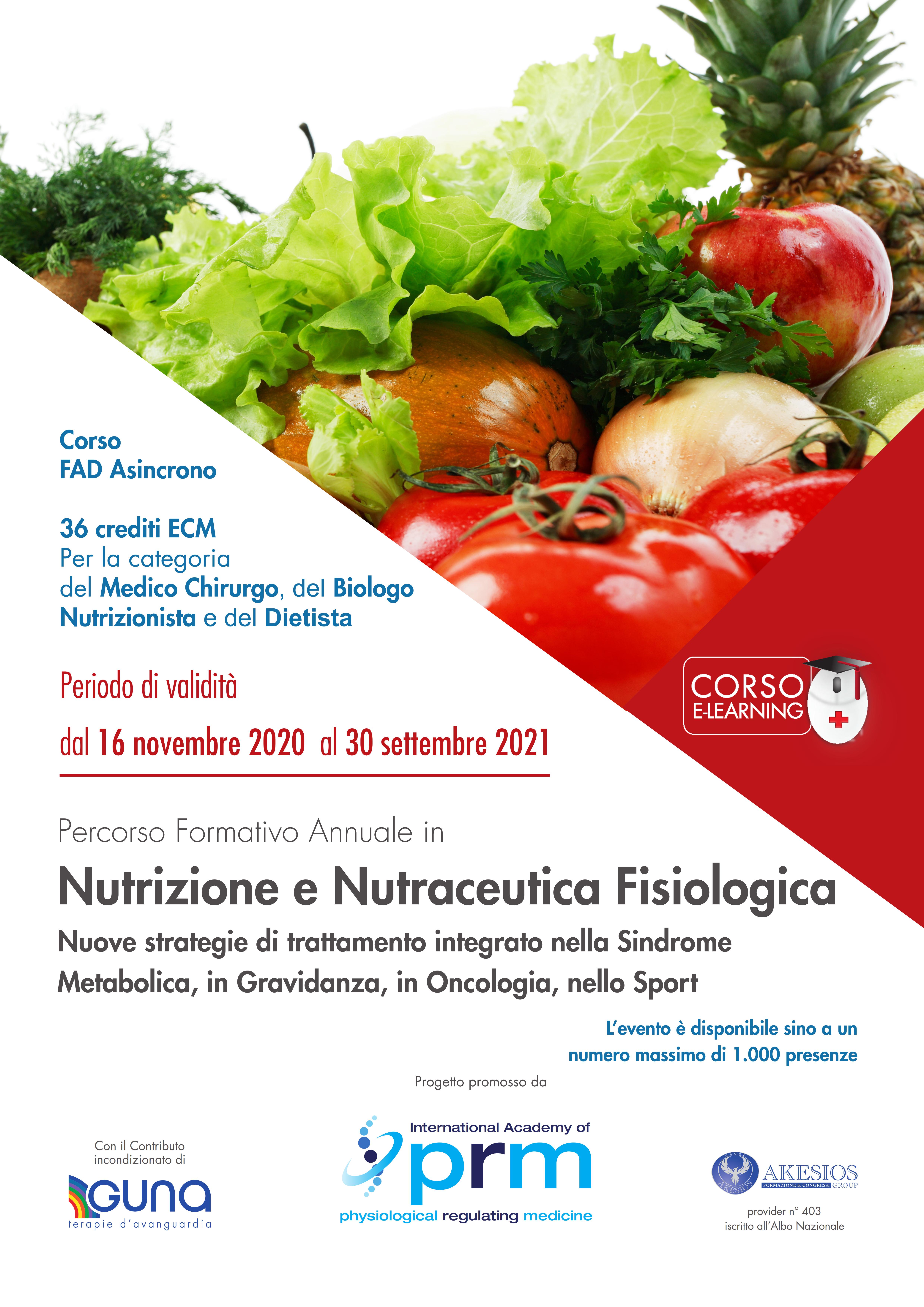 Percorso Formativo Annuale in Nutrizione e Nutraceutica Fisiologica