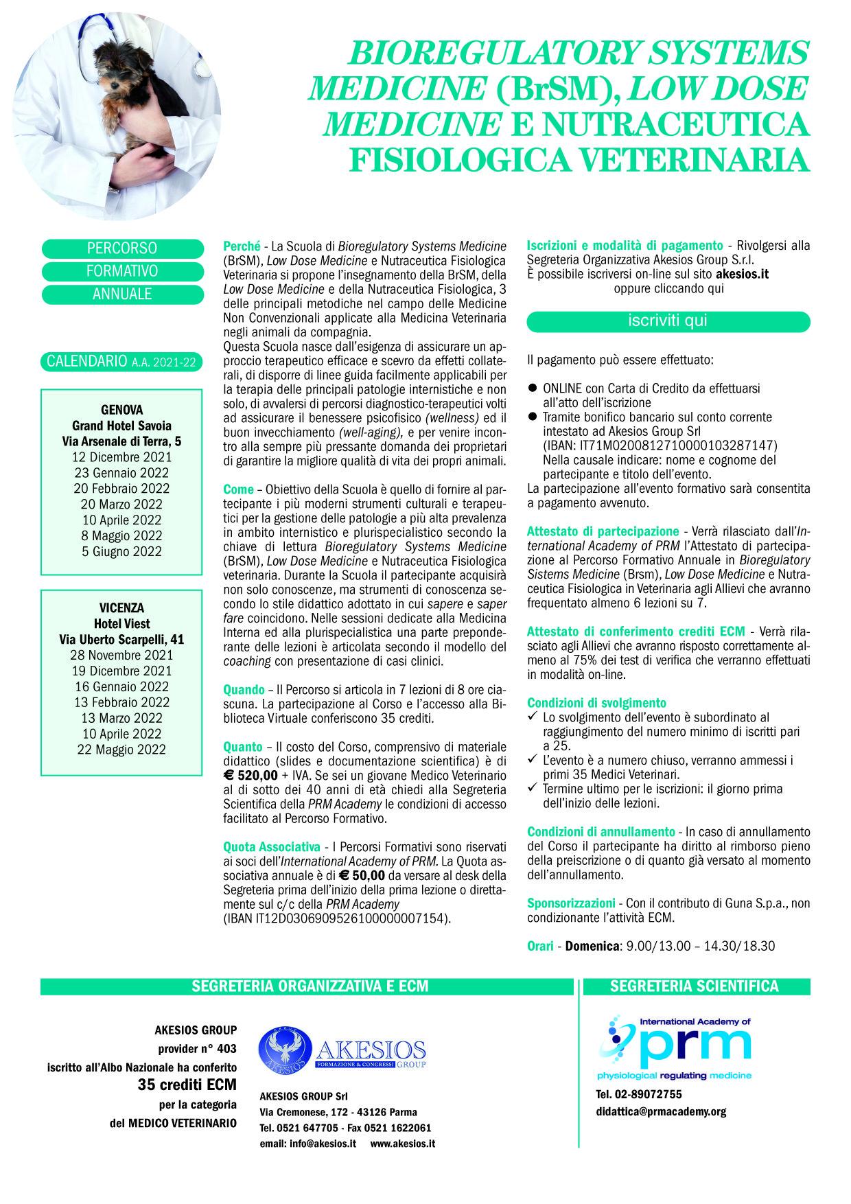 PERCORSO FORMATIVO ANNUALE IN BrSM, LDM E NUTRACEUTICA FISIOLOGICA VETERINARIA