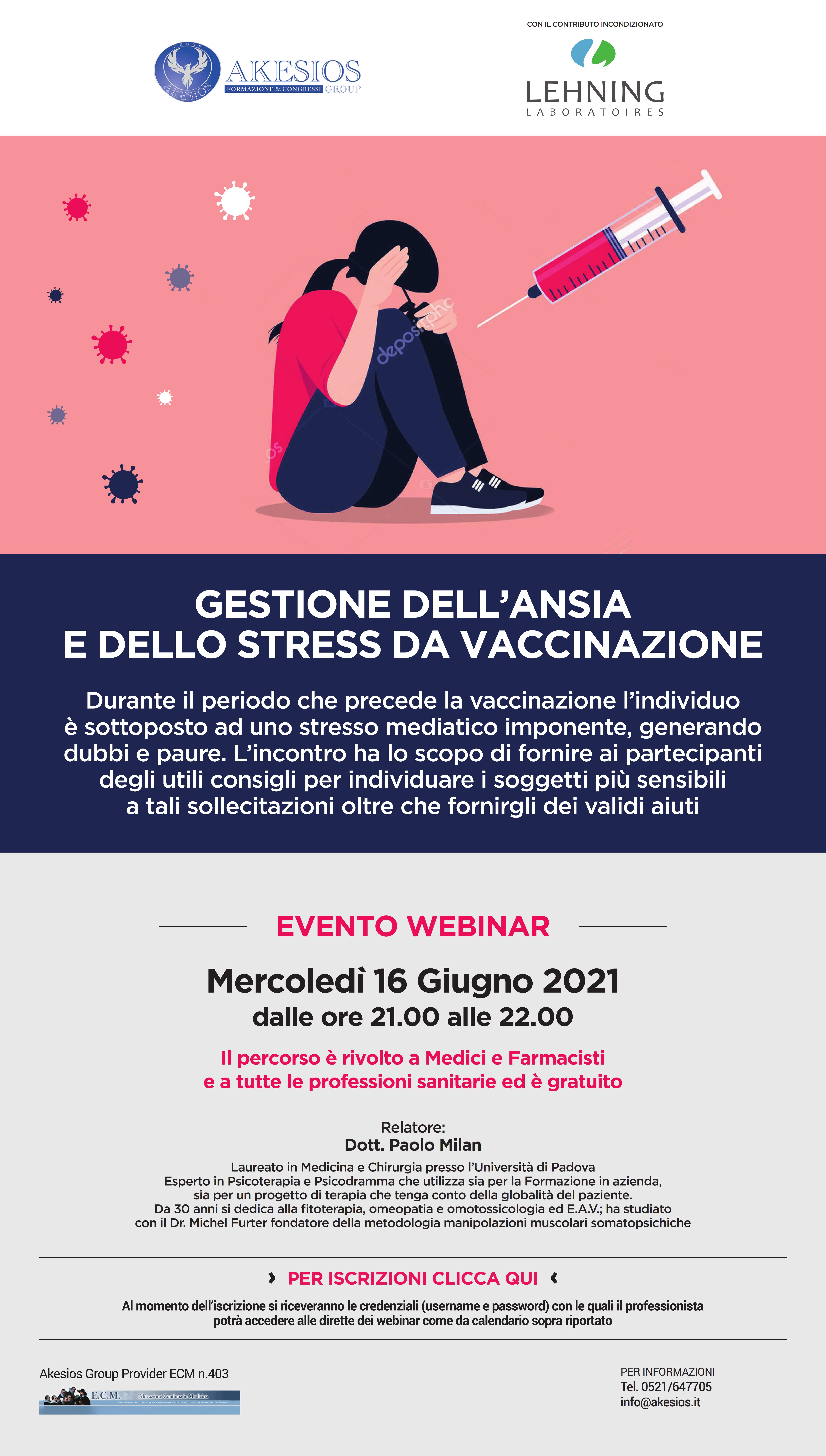 GESTIONE DELL'ANSIA E DELLO STRESS DA VACCINAZIONE