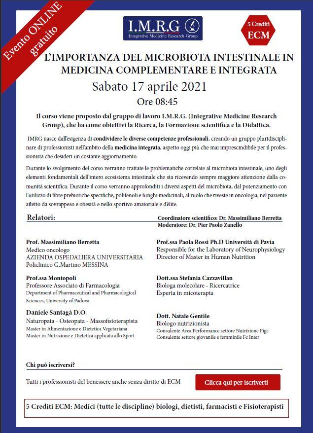 L'IMPORTANZA DEL MICROBIOTA INTESTINALE IN MEDICINA COMPLEMENTARE E INTEGRATA