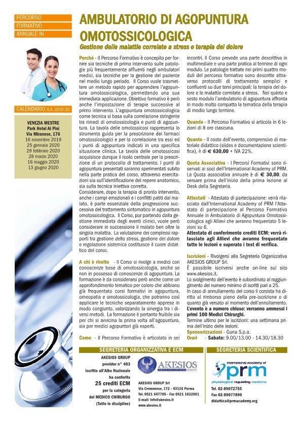 Percorso Formativo Annuale in Ambulatorio di Agopuntura Omotossicologica