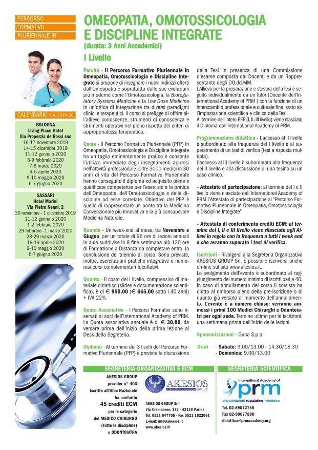 Percorso Formativo Annuale in Omeopatia, Omotossicologia e Discipline Integrate I LIVELLO