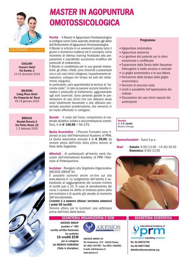 Master in Agopuntura Omotossicologica